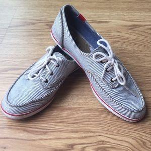 Keds Blue & White Stripe Boat Shoe Women's size 8